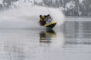 This is a Seadoo type PWC in the ocean of Prince William Sound In Alaska