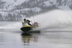 This is a Seadoo type PWC in Alaska's Prince William Sound in the winter.